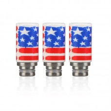 Ceramic & Stainless Steel American Flag Wide Bore Drip Tip