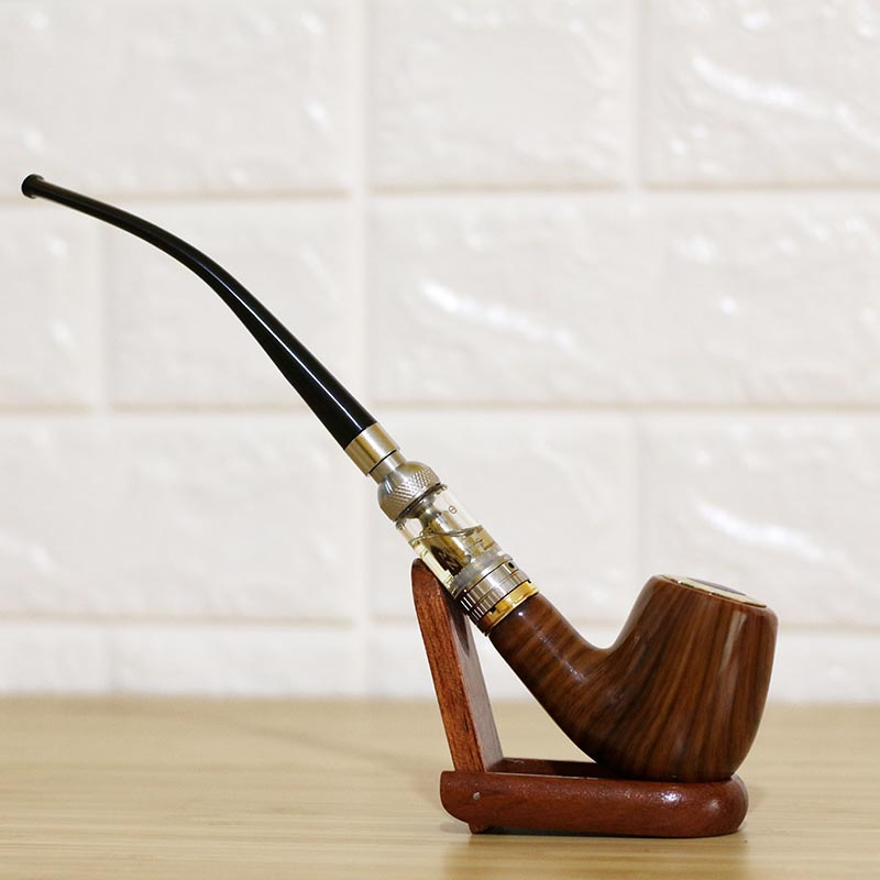 Long Churchwarden Style Vape E Pipe 609 Kit Slim Electronic Wood Pipe